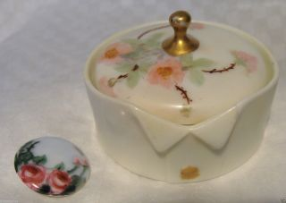 Antique Germany Hand Painted Porcelain Stud Collar Button Box/button German photo