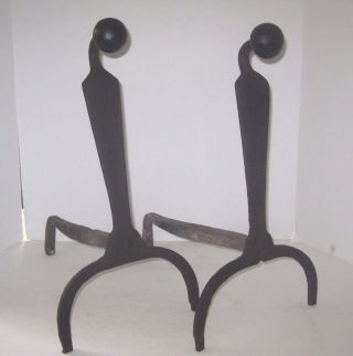 19th Century Wrought Iron Goose Neck Ball Top Andirons photo