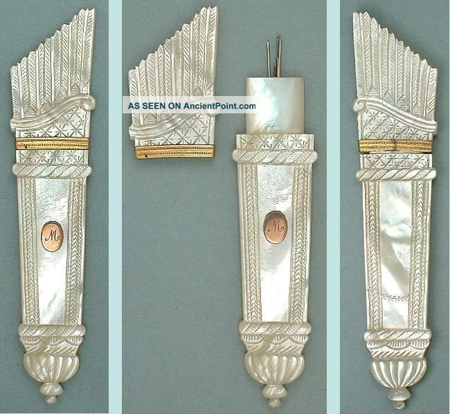 Antique Mother Of Pearl Palais Royal Needle Case W/ Unusual Seal Circa 1820 Needles & Cases photo