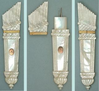 Antique Mother Of Pearl Palais Royal Needle Case W/ Unusual Seal Circa 1820 photo