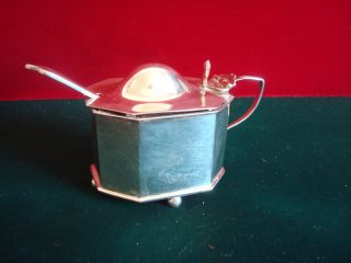 1907 Hallmarked Silver Mustard Pot & Spoon Weight 57g photo