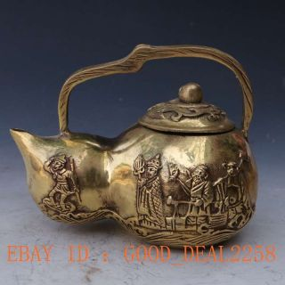 Brass Handwork Carved Gourd Shape Journey To The West,  Four Buddha Teapot & Lid photo