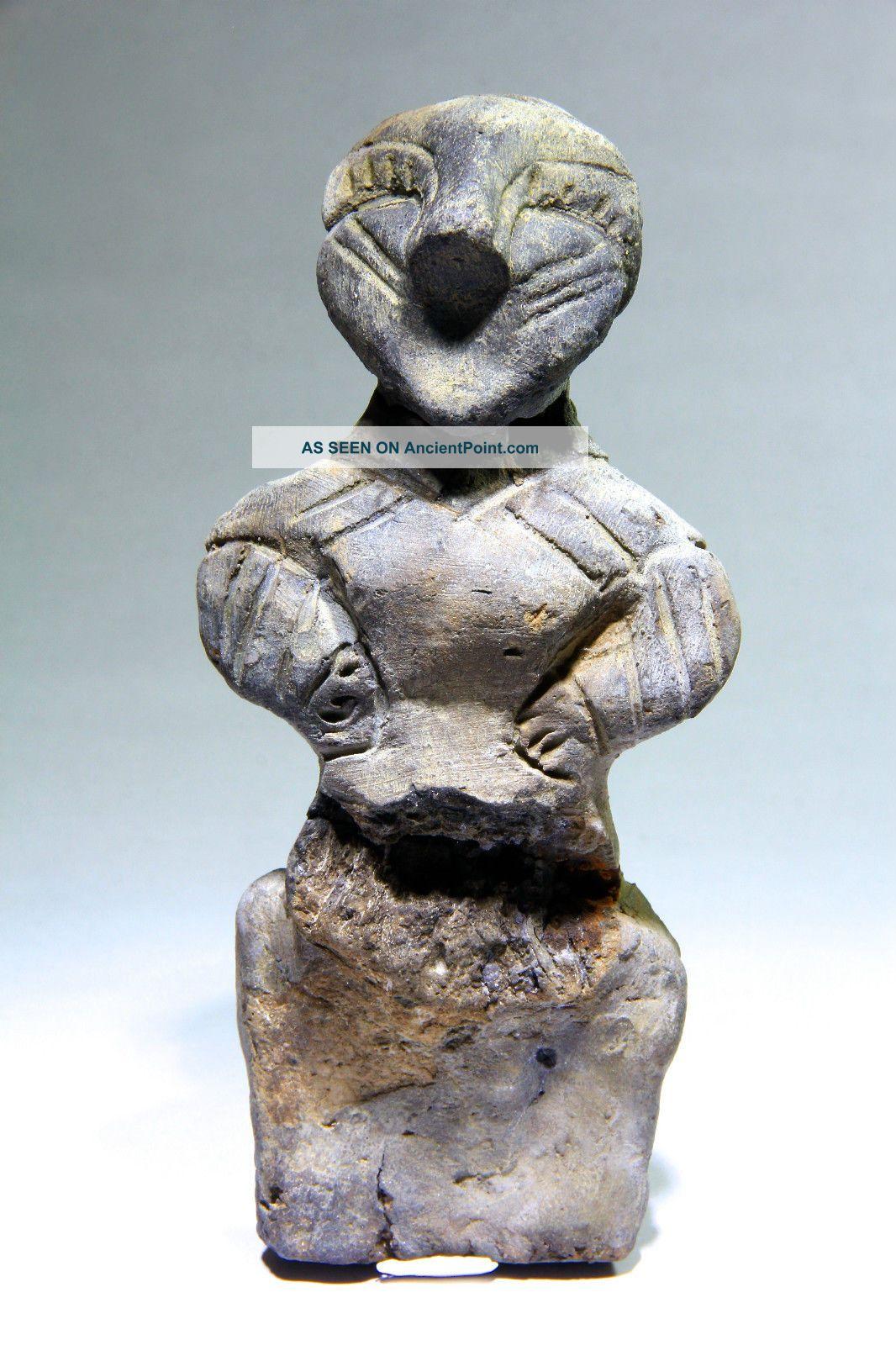 Scarce Ancient Neolithic Stone Age Vinca Culture Large Female Idol 5700 - 4500 Bc European photo