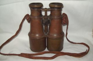 Vintage Brass Binoculars - 1930 Era - Uncleaned Not Branded Great To Restore photo