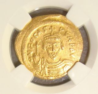 602 - 610 Ad Phocas,  Ancient Byzantine Gold Solidus Ngc Au Perfect 5/5 5/5 photo