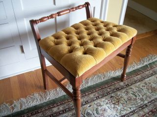 Cherry Vanity Bench Gold Tufted Seat photo
