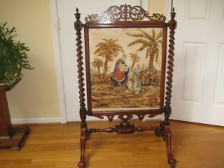 Stunning Victorian Barley Twist Rosewood Firescreen photo