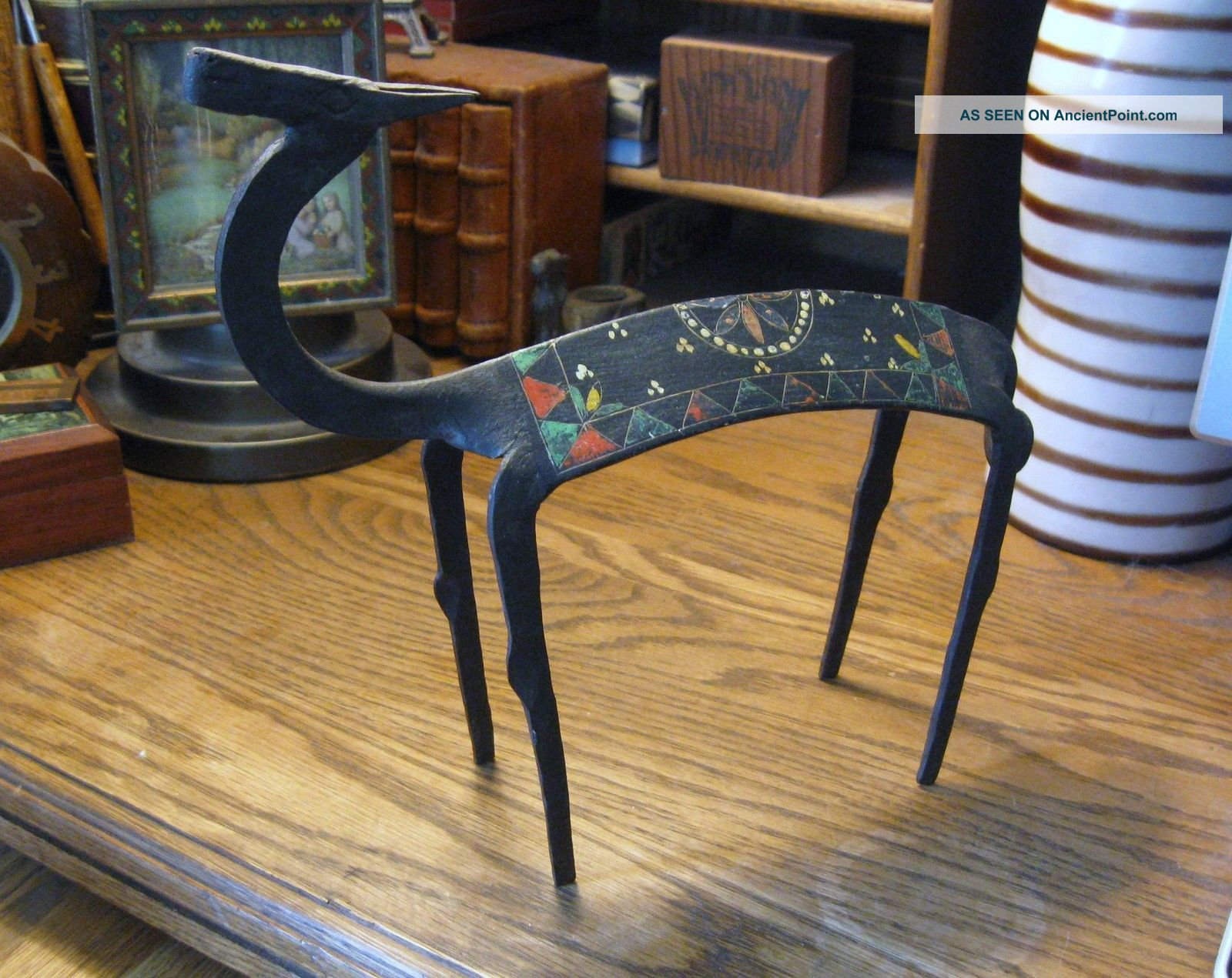 African Mid Century Wrought Iron Antelope Sculpture Hand Forged Painted Gizelle Sculptures & Statues photo