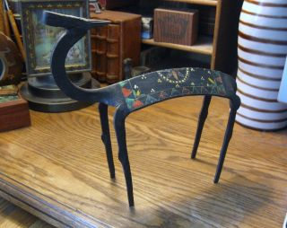 African Mid Century Wrought Iron Antelope Sculpture Hand Forged Painted Gizelle photo