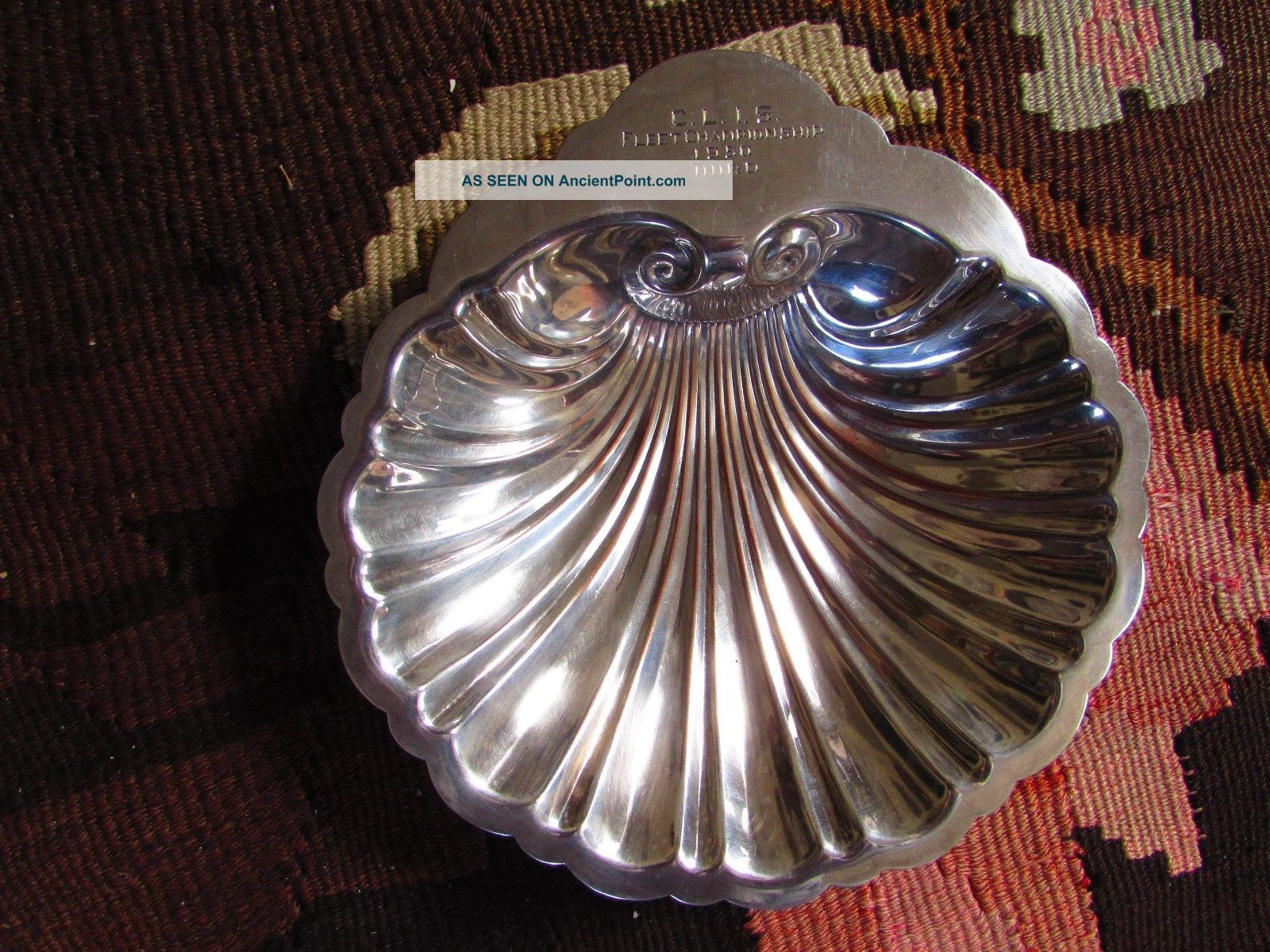 Rare,  Lovely 1950 C.  L.  I.  S Fleet Championship Award Sea Shell,  Prill Silver Co Plates & Chargers photo