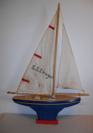 Vintage Wooden Model Pond Sail Boat Ship 13 3/4 Inches Long W Weighted Keel photo