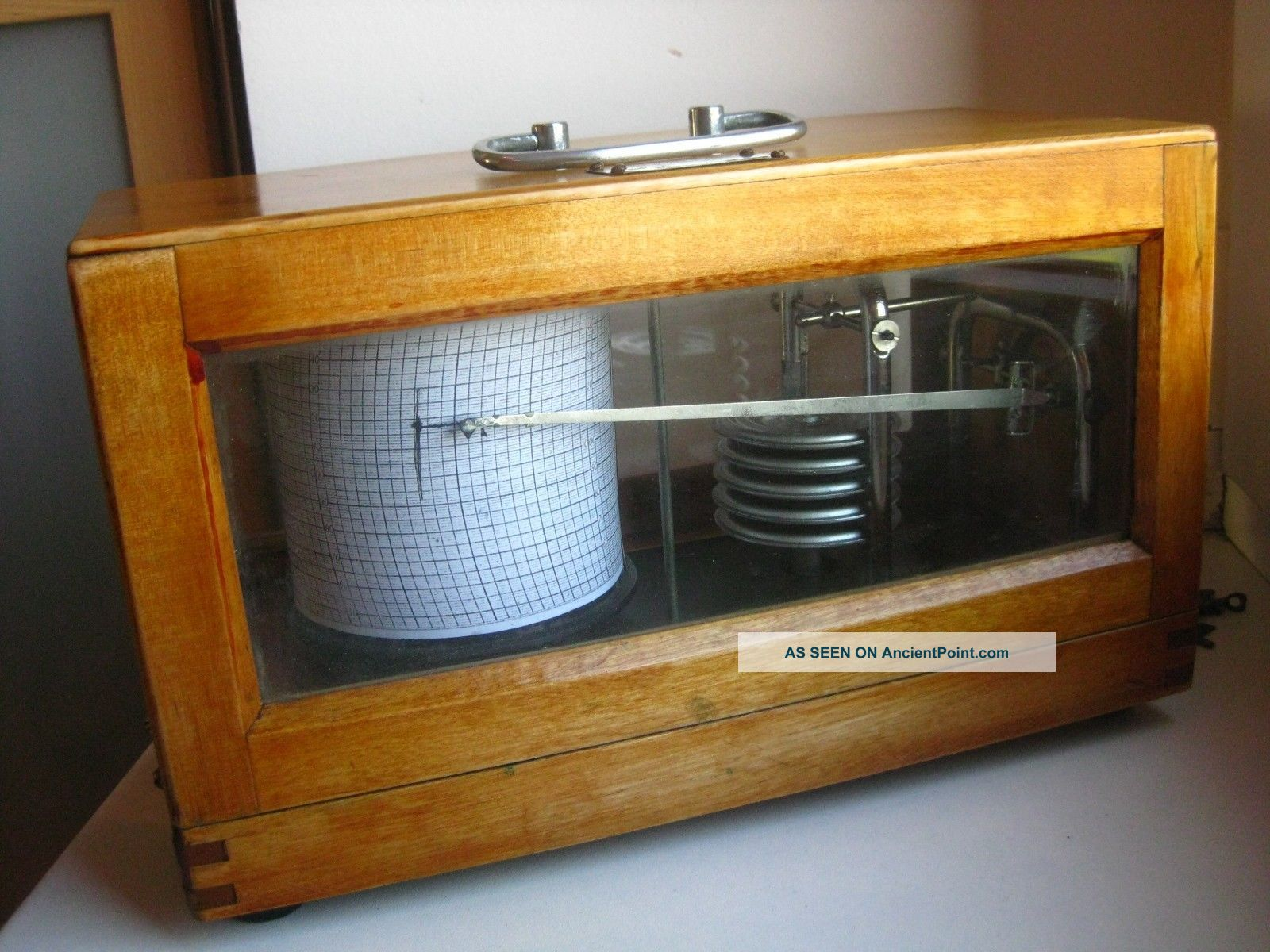 Old 1960 Latvian (soviet) Wooden 7 - Days Barograph