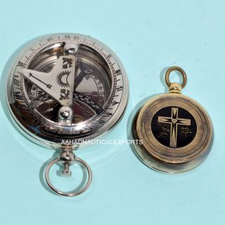 Antique Brass Push Button Magnetic Pocket Compass @1914 Rose London Compass photo