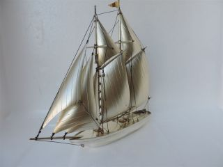 Masterly H - Crafted Solid Sterling Silver Two Masted Ship Yacht 201 Grams 7.  1 Oz photo