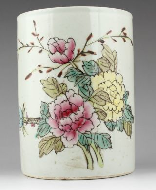 Collectable Old Handmade Fine Jingdezhen Porcelain Brush Pot Peony ☆☆ photo
