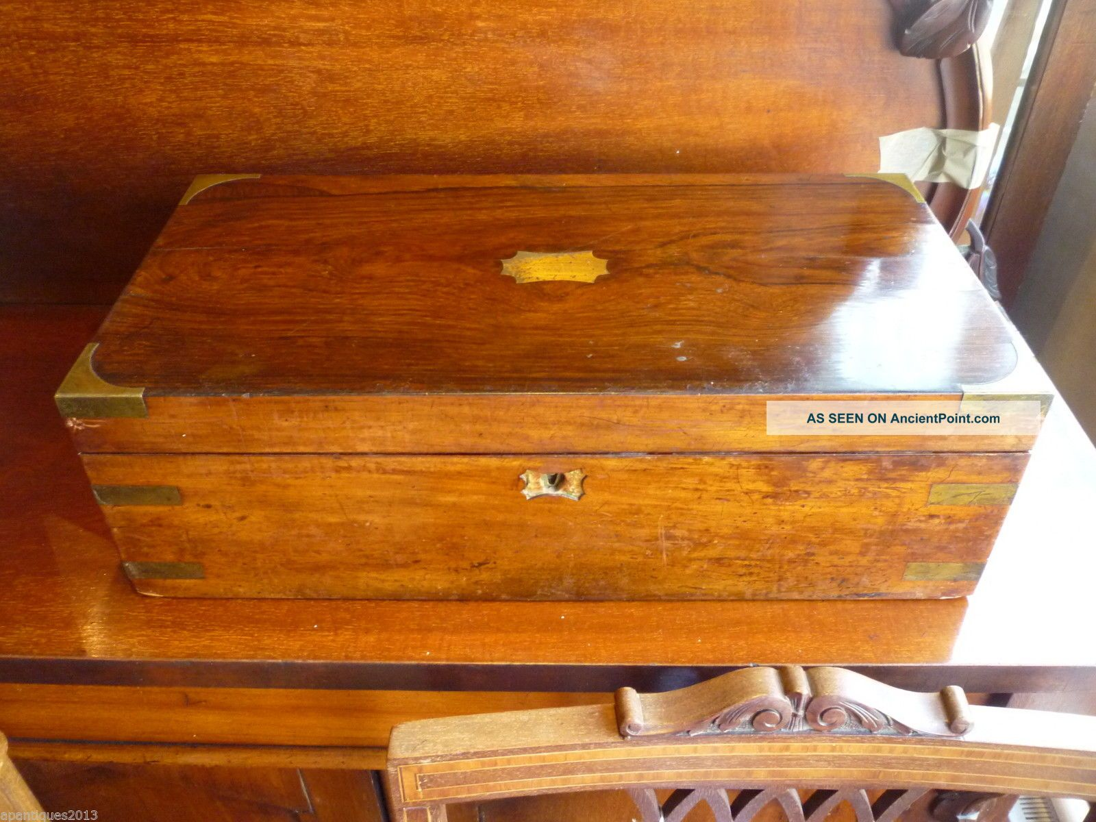 Large Antique Rosewood Brass Bound Writing Slope For Restoration Poss Secret Dra 1800-1899 photo