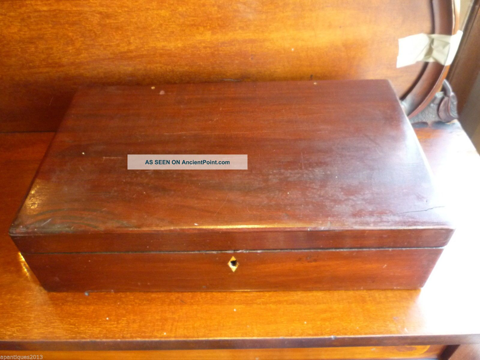 Large Antique Mahogany Writing Slope Lap Desk With Brass Handles For Tidying 1800-1899 photo