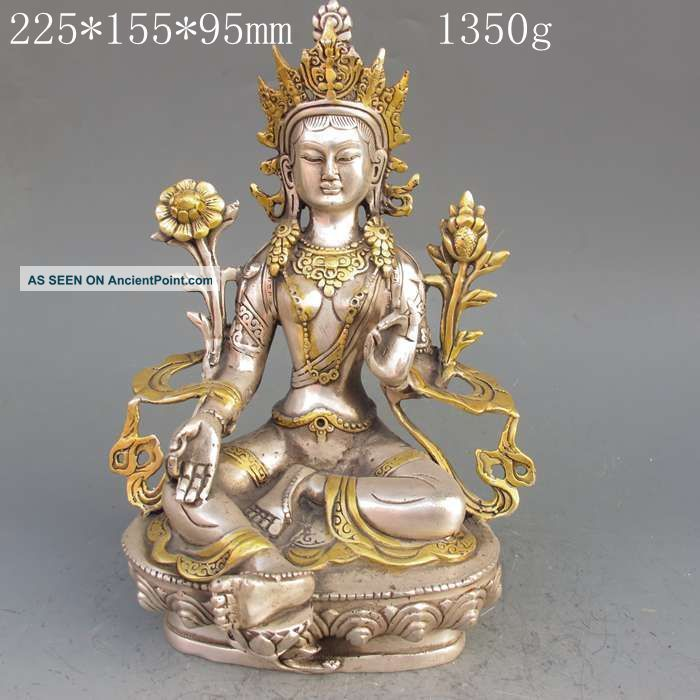 Tibet Silver Copper Gilt Tibetan Buddhism Statue - - Green Tara Buddha Buddha photo