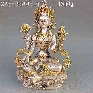 Tibet Silver Copper Gilt Tibetan Buddhism Statue - - Green Tara Buddha photo