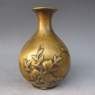 Chinese Bronze Carved Peaches Vase W Qianlong Mark photo