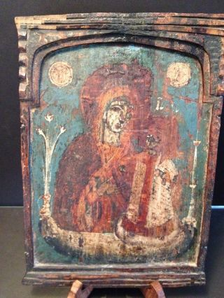 Authentic Byzantine Antique 16th C.  Russian Orthodox Icon Madonna Painting Wood photo
