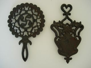 Two Antique Victorian Trivets Cast Iron From England - photo