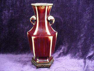 Antique 19/20c Chinese Flambe Hexagonal Porcelain Vase On Wood Stand photo