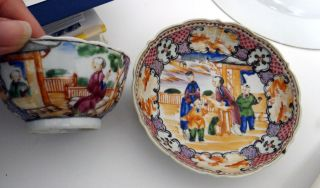 18th C.  Chinese Export Teabowl & Saucer - Mandarin Palette W/ Chinese Scenes photo