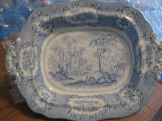 Antique Blue/white Transferware Staffordshire Footed Serving Bowl Beehive Mark photo