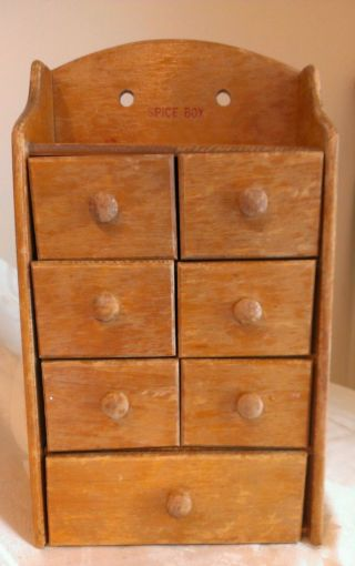 Primitive Wooden Spice Drawer Box Cabinet Hangs Or Stands 7 Drawers Hand Labels photo