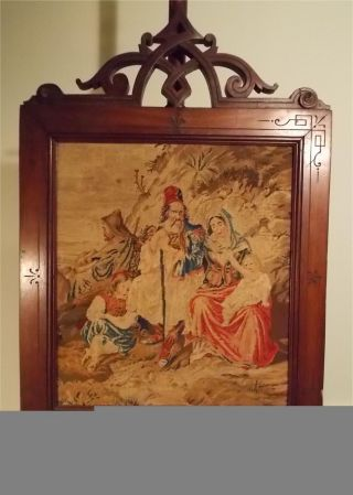 Antique Victorian Walnut Fireplace Pole Screen With Wonderful Panel photo