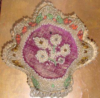 Antique Rare Velvet & Beaded Native American Pin Cushion Upstate York photo