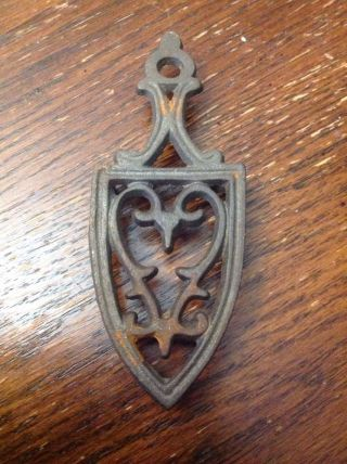 "Antique Miniature Cast Iron Trivet W/ Heart In The Middle: 4""x1.  75""x0.  5""h photo"