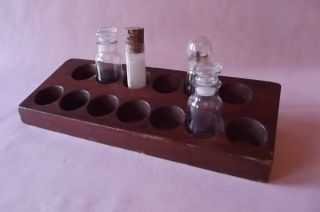 Bottle Stand,  Vintage,  Solid Mahogany {chemistry / Biology} - photo