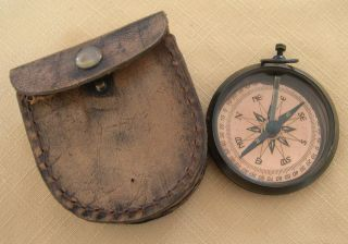 1941 Stanley London Compass Copper And Brass With Leather Pouch photo