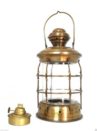 Vintage Bow Hanging Lantern Old Nautical Ship Lamp Oil Operated Collectible Gift photo