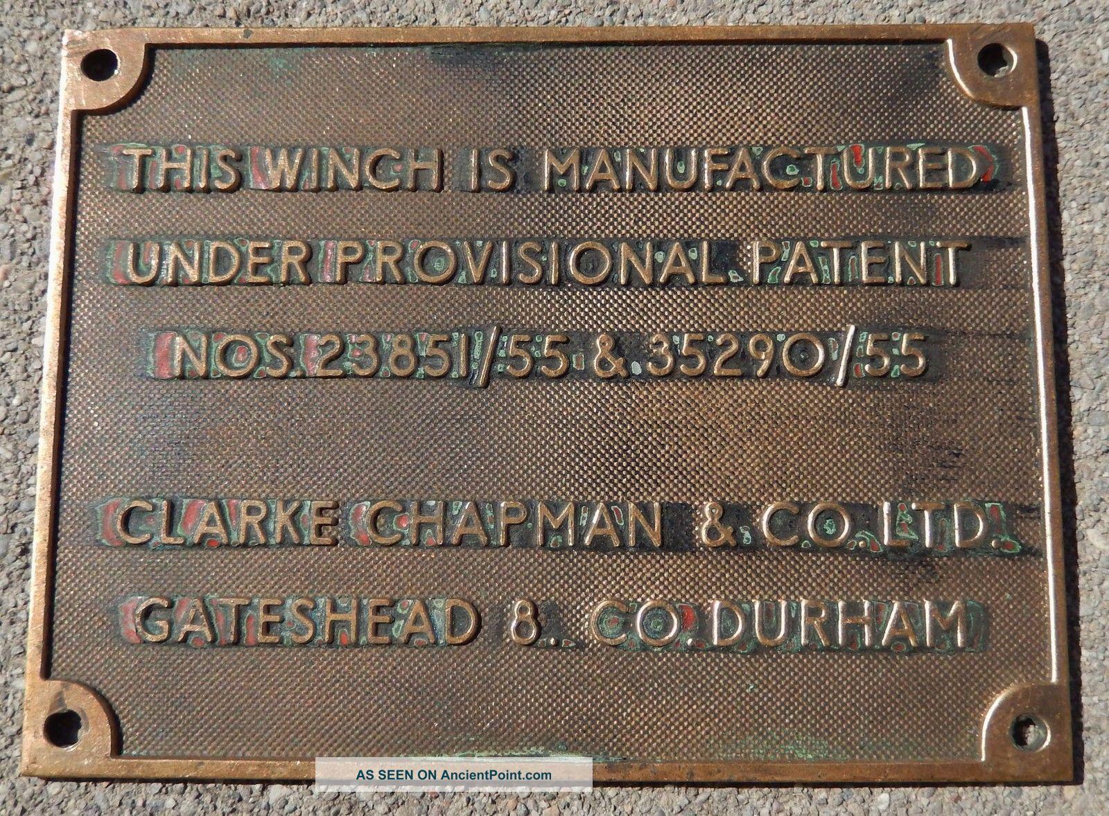Antique Winch Clarke Chapman & Co.  Bronze/brass Plaque - Gateshead 8 Co.  Durham Plaques & Signs photo