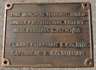 Antique Winch Clarke Chapman & Co.  Bronze/brass Plaque - Gateshead 8 Co.  Durham photo