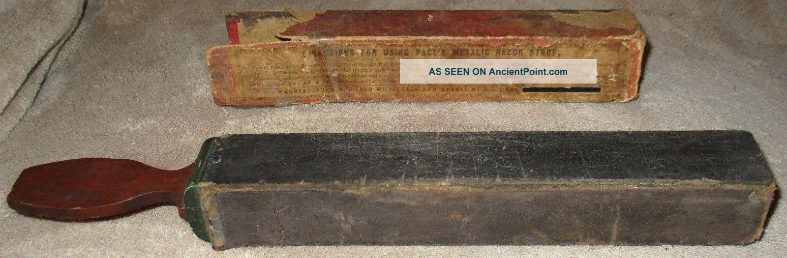 Antique 1800 ' S Rare Page ' S Metallic Razor Strop In Orig Box E.  L.  Page Primitive Other photo