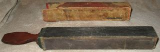 Antique 1800 ' S Rare Page ' S Metallic Razor Strop In Orig Box E.  L.  Page Primitive photo