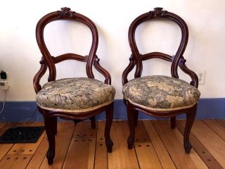 1800 ' S French Ballon Back Chairs Walnut Carved 2 Victorian All Rare photo