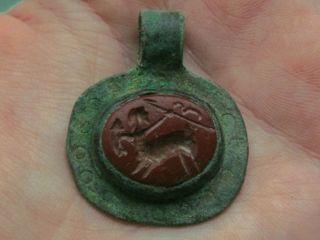 Roman Bronze Intaglio Pendant With Carnelian Stone,  Engraved Centaur,  Wearable photo