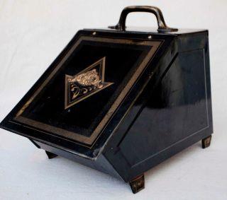 Antique Metal And Brass Fireplace Coal Ash Scuttle Box Bin photo
