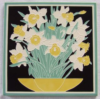 Lg Art Deco Tile American Olean Franklin Daffodils Architect Convention York photo