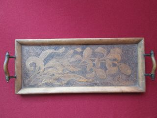Rare Vintage Antique Unique Wooden Pyrography Tray/dish Metal Handles 1920 - 1930 photo