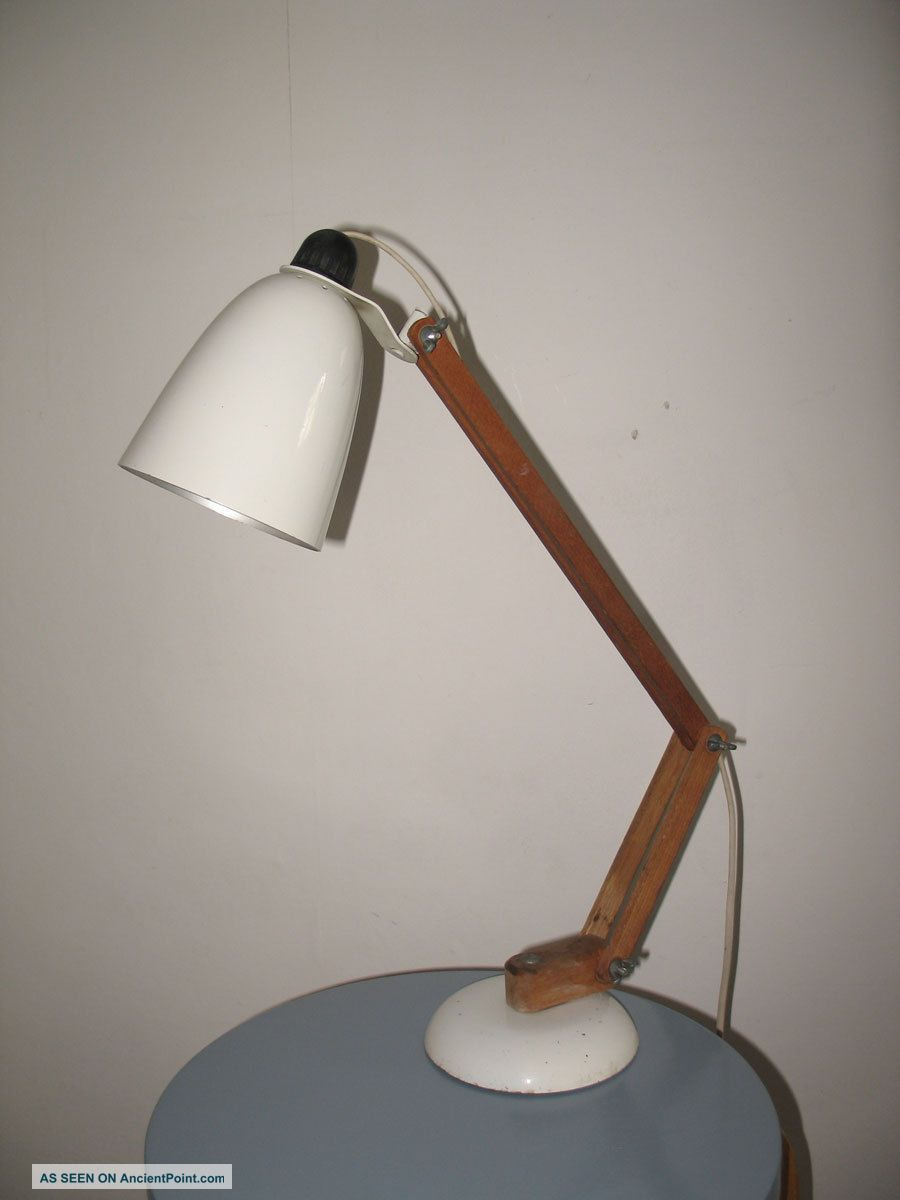 Conran Maclamp Lamp White Wooden Arms 1960s 1950s Habitat Eames 20th Century photo