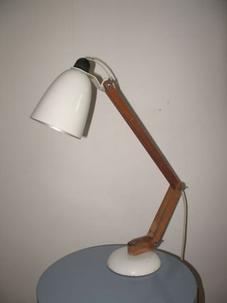 Conran Maclamp Lamp White Wooden Arms 1960s 1950s Habitat Eames photo