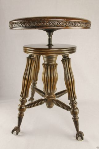 Hand Carved Antique Victorian Piano Stool With Glass Ball And Claw Feet - photo