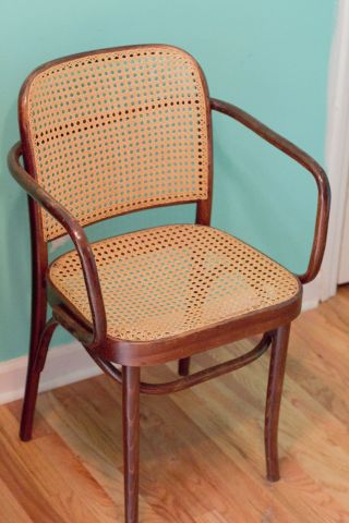 Thonet Vintage Hoffman No.  811 Praque Arm Chair Bentwood Cane Seat Beechwood photo