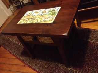 Rare Vintage Mission Arts & Crafts Tile End Side Lamp Coffee Table Hand Painted - photo